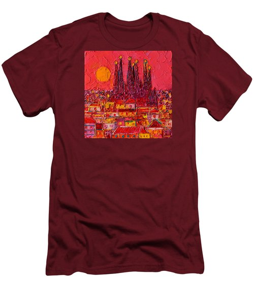 Barcelona Moon Over Sagrada Familia - Palette Knife Oil Painting By Ana Maria Edulescu Men's T-Shirt (Athletic Fit)