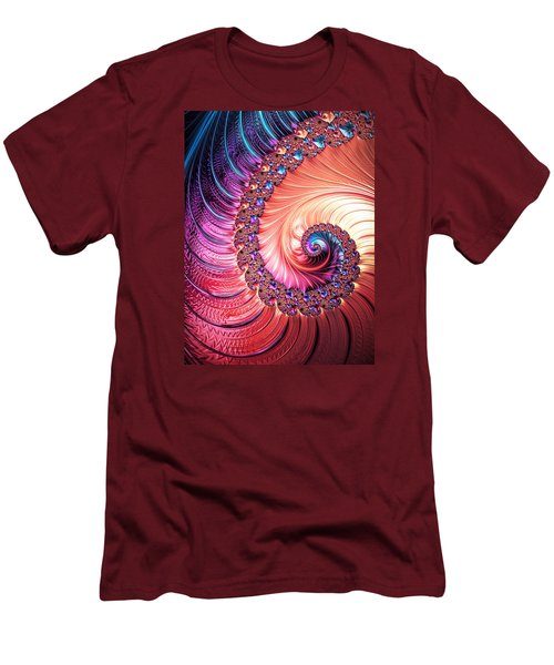 Men's T-Shirt (Slim Fit) featuring the digital art Beneath The Sea Spiral by Kathy Kelly