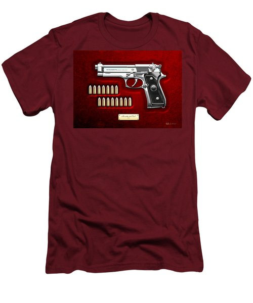 Beretta 92fs Inox Over Red Velvet Men's T-Shirt (Slim Fit) by Serge Averbukh