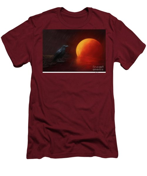 Blood Moon Crow Men's T-Shirt (Athletic Fit)