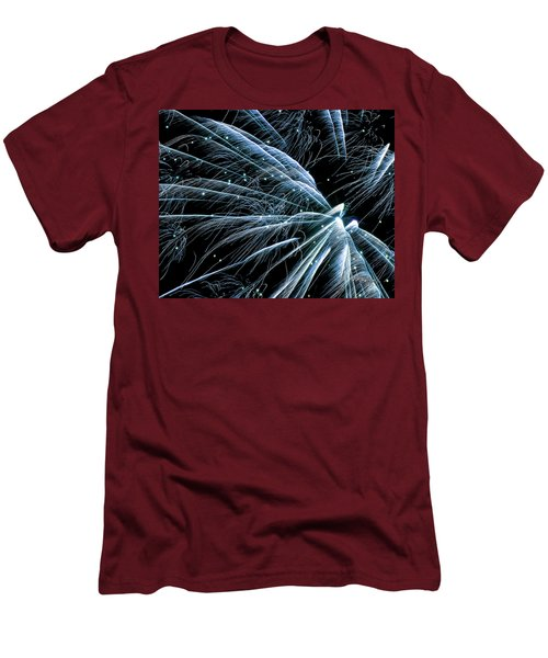 Men's T-Shirt (Athletic Fit) featuring the photograph Blue Fairy Fireworks #0710_3 by Barbara Tristan