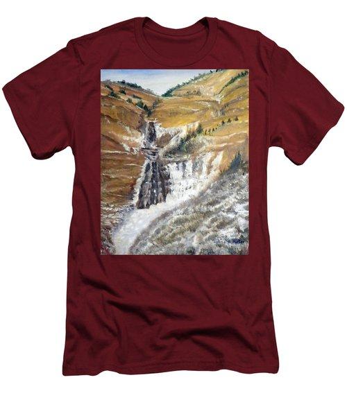 Bridal Veil Falls In Winter Men's T-Shirt (Slim Fit) by Sherril Porter