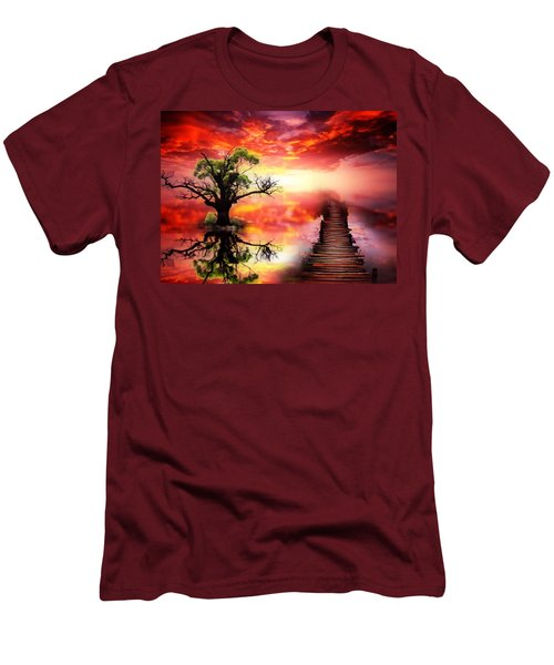 Bridge Into The Unknown Men's T-Shirt (Slim Fit) by Gabriella Weninger - David