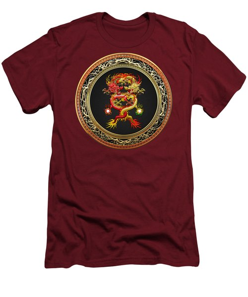 Brotherhood Of The Snake - The Red And The Yellow Dragons On Red Velvet Men's T-Shirt (Slim Fit)