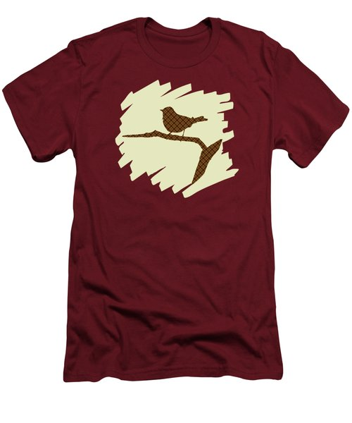 Brown Bird Silhouette Modern Bird Art Men's T-Shirt (Slim Fit) by Christina Rollo