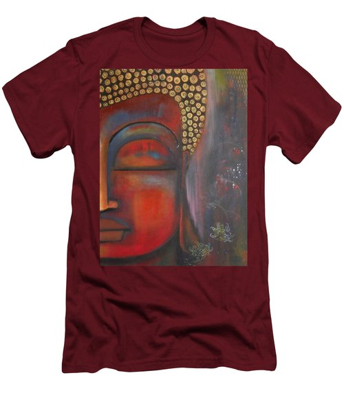 Men's T-Shirt (Slim Fit) featuring the painting Buddha With Floating Lotuses by Prerna Poojara