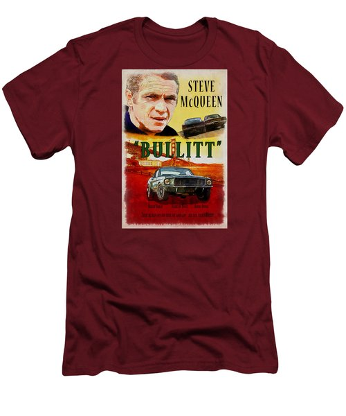 Men's T-Shirt (Slim Fit) featuring the painting Bullitt Poster by Kai Saarto