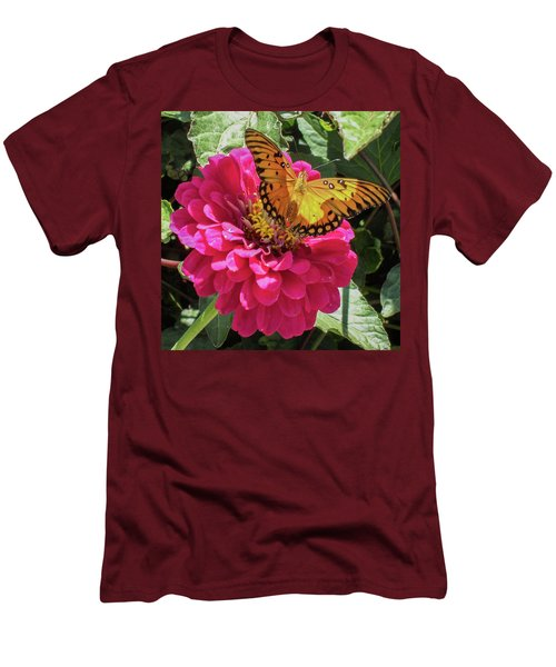 Butterfly On Pink Flower Men's T-Shirt (Slim Fit) by Mark Barclay