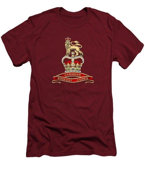 Canadian Provost Corps - C Pro C Badge Over Red Velvet Men's T-Shirt (Slim Fit) by Serge Averbukh