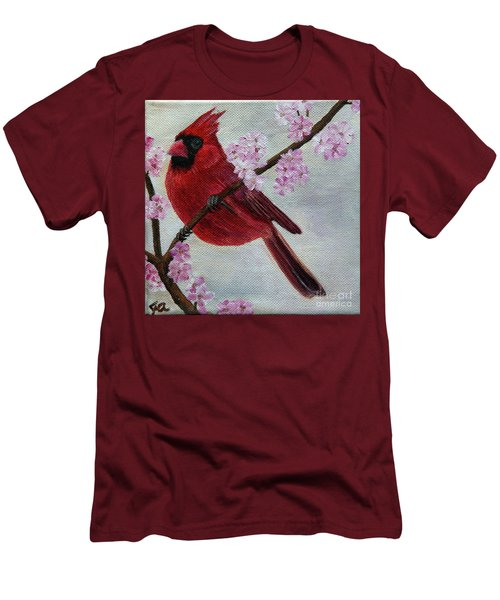 Cardinal In Cherry Blossoms Men's T-Shirt (Slim Fit) by Jane Axman