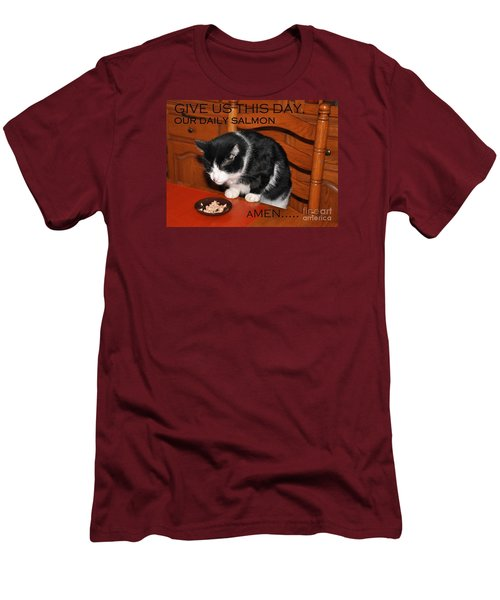 Cat's Prayer Revisited By Teddy The Ninja Cat Men's T-Shirt (Slim Fit) by Reb Frost