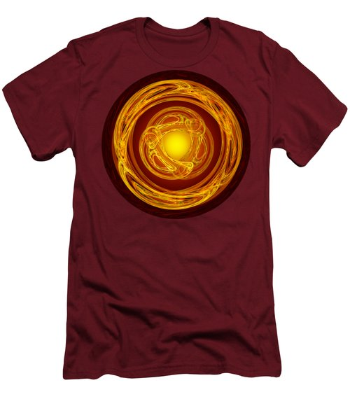 Celtic Abstract On Red Men's T-Shirt (Slim Fit) by Jane McIlroy