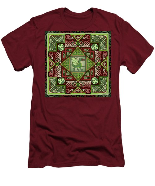 Men's T-Shirt (Slim Fit) featuring the mixed media Celtic Dragon Labyrinth by Kristen Fox