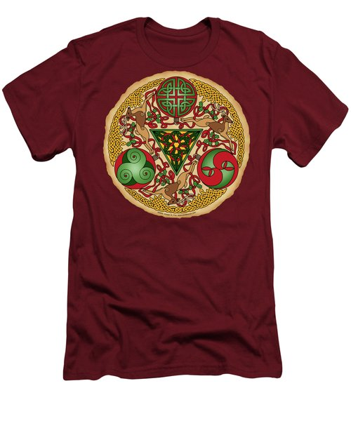 Celtic Reindeer Shield Men's T-Shirt (Athletic Fit)