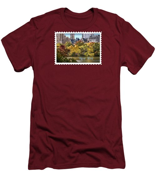 Central Park Lake In Fall Text New York Men's T-Shirt (Slim Fit) by Elaine Plesser