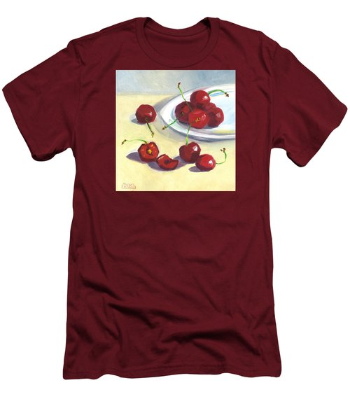 Men's T-Shirt (Slim Fit) featuring the painting Cherries On A Plate by Susan Thomas
