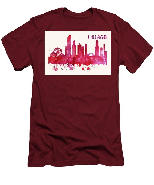 Chicago Skyline Watercolor Poster - Cityscape Painting Artwork Men's T-Shirt (Athletic Fit)