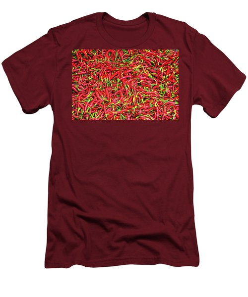 Men's T-Shirt (Slim Fit) featuring the photograph Chillies by Charuhas Images
