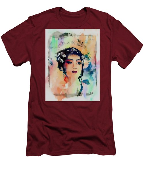 Chinese Cultural Girl - Digital Watercolor  Men's T-Shirt (Athletic Fit)