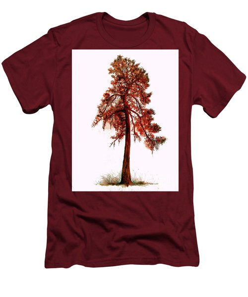 Men's T-Shirt (Slim Fit) featuring the drawing Chinese Pine Tree Drawing by Maja Sokolowska