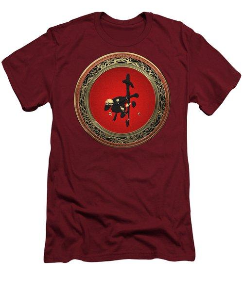 Chinese Zodiac - Year Of The Goat On Red Velvet Men's T-Shirt (Athletic Fit)