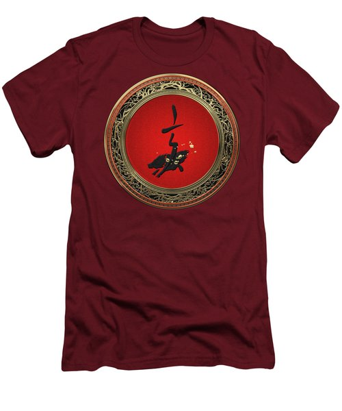 Chinese Zodiac - Year Of The Pig On Red Velvet Men's T-Shirt (Athletic Fit)