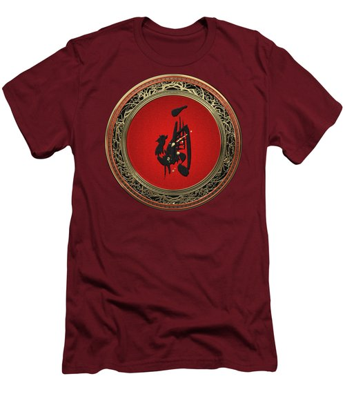 Chinese Zodiac - Year Of The Rooster On Red Velvet Men's T-Shirt (Athletic Fit)