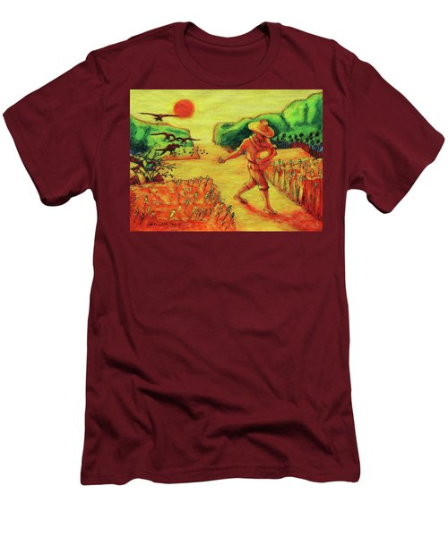 Men's T-Shirt (Slim Fit) featuring the painting Christian Art Parable Of The Sower Artwork T Bertram Poole by Thomas Bertram POOLE
