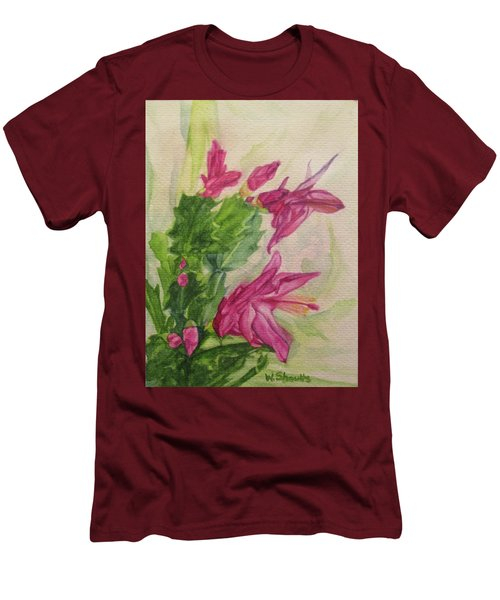 Men's T-Shirt (Slim Fit) featuring the painting Christmas Cactus by Wendy Shoults