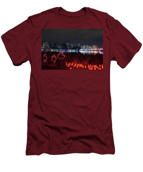 Christmas Lights At Lafarge Lake In City Of Coquitlam Men's T-Shirt (Athletic Fit)