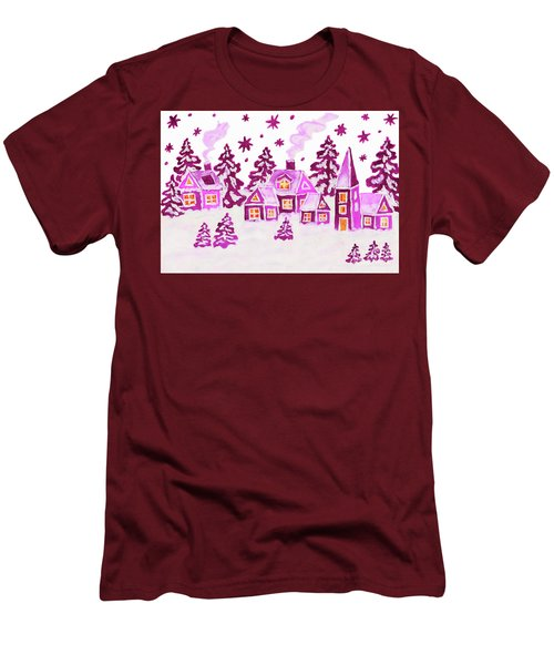 Christmas Picture In Pink Colours Men's T-Shirt (Slim Fit) by Irina Afonskaya