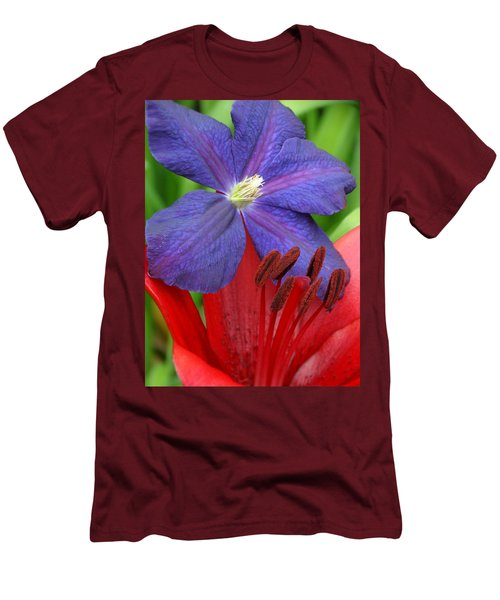 Clematis And Lily Men's T-Shirt (Slim Fit) by Rebecca Overton