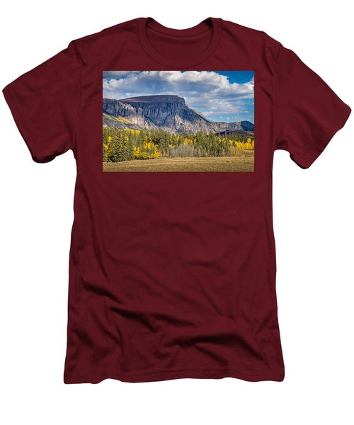 Colorado Fall Landscape With Aspen Trees Between Creede And Lake Men's T-Shirt (Slim Fit) by John Brink