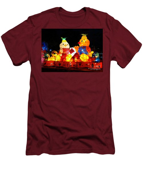 Men's T-Shirt (Slim Fit) featuring the photograph Colorful Chinese Lanterns In The Shape Of Chickens by Yali Shi