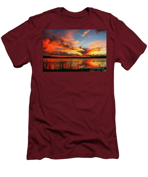 Colorful Fort Pierce Sunset Men's T-Shirt (Slim Fit) by Tom Claud