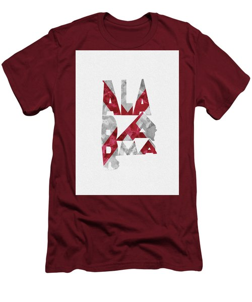 Men's T-Shirt (Athletic Fit) featuring the painting Alabama Typographic Map Flag by Inspirowl Design