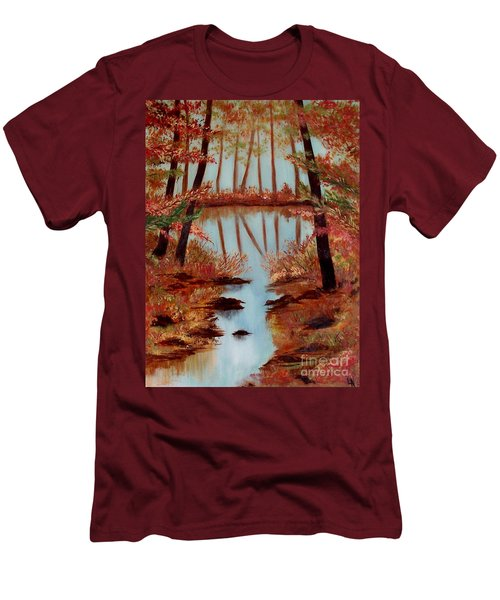 Men's T-Shirt (Slim Fit) featuring the painting Country Reflections by Leslie Allen