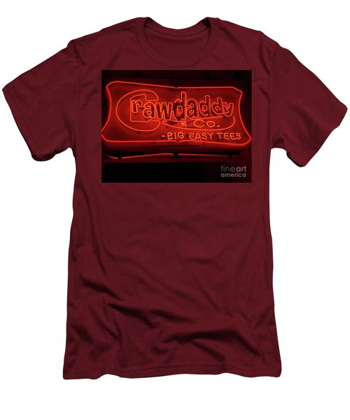 Men's T-Shirt (Slim Fit) featuring the photograph Craw Daddy Neon Sign by Steven Spak
