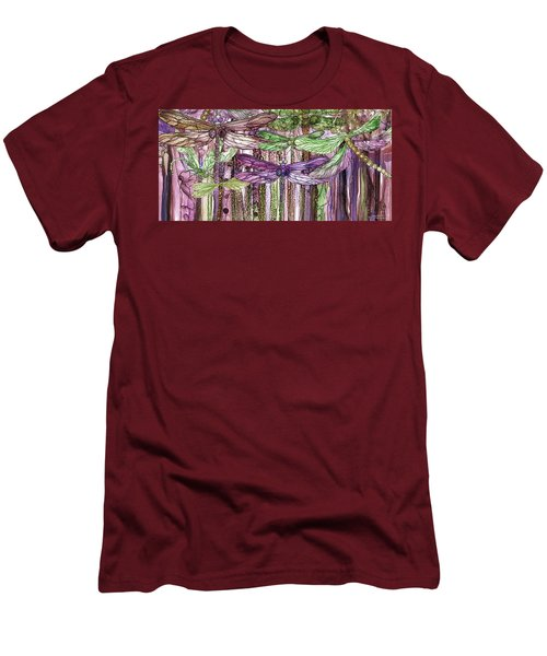 Men's T-Shirt (Athletic Fit) featuring the mixed media Dragonfly Bloomies 4 - Pink by Carol Cavalaris