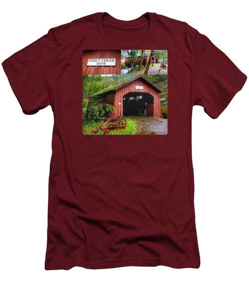 Drift Creek Covered Bridge Men's T-Shirt (Slim Fit) by Susan Garren
