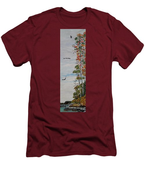 Men's T-Shirt (Slim Fit) featuring the painting Eagles Point by Marilyn  McNish