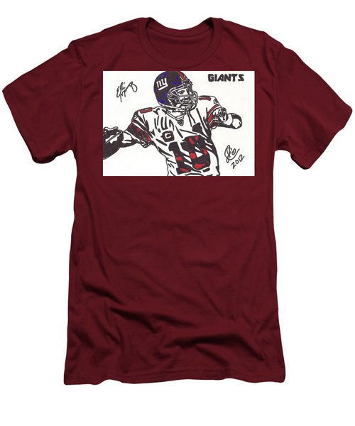 Men's T-Shirt (Slim Fit) featuring the drawing Eli Manning by Jeremiah Colley