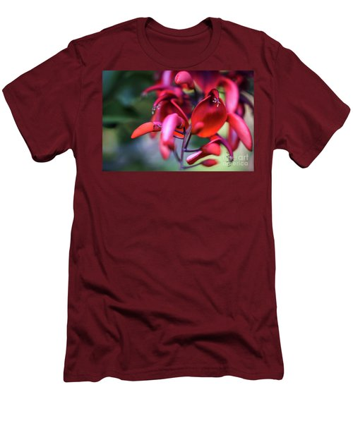 Men's T-Shirt (Athletic Fit) featuring the photograph Erythrina Crista Galli Flower Spain Square Cadiz Spain by Pablo Avanzini