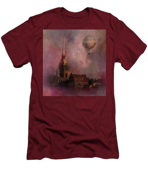 Stockholm Church With Flying Balloon Men's T-Shirt (Athletic Fit)