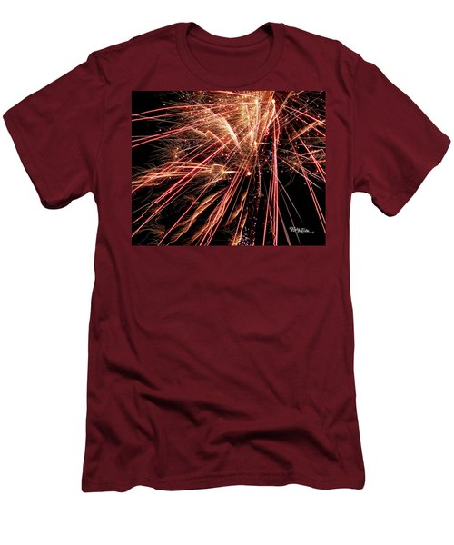 Men's T-Shirt (Athletic Fit) featuring the photograph Exciting Fireworks #0734 by Barbara Tristan