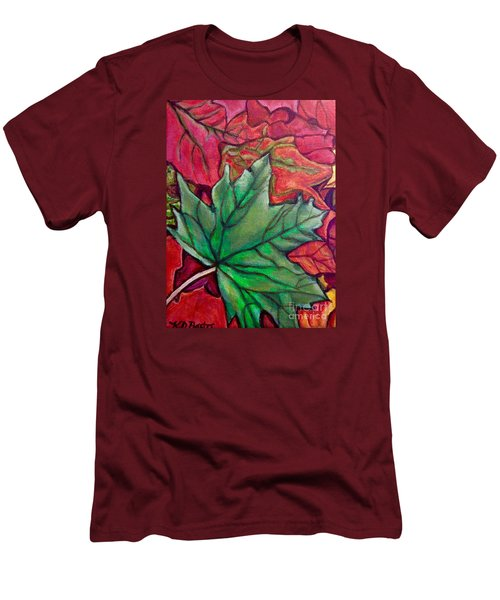 Men's T-Shirt (Slim Fit) featuring the painting Fallen Green Maple Leaf In The Fall by Kimberlee Baxter