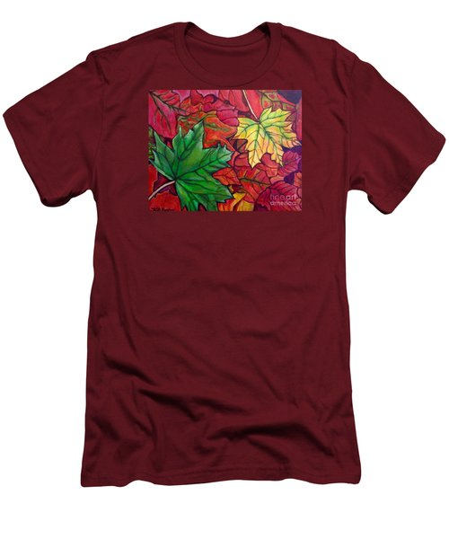 Men's T-Shirt (Slim Fit) featuring the painting Falling Leaves I Painting by Kimberlee Baxter