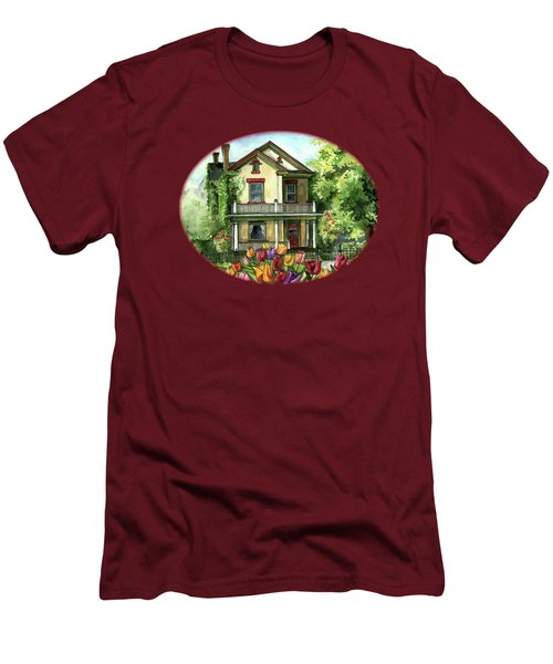 Farmhouse With Spring Tulips Men's T-Shirt (Slim Fit) by Shelley Wallace Ylst