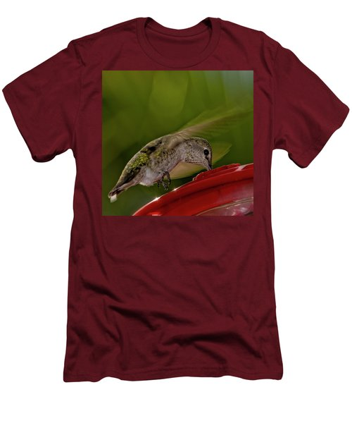 Men's T-Shirt (Athletic Fit) featuring the photograph Female Anna's Hummingbird H40 by Mark Myhaver