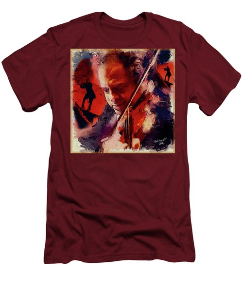 Men's T-Shirt (Slim Fit) featuring the painting Fiddler by Ted Azriel